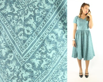 Vintage 50s Novelty Dress Rabbit Eagle Short Sleeves Full Skirt 1950s Medium M Pinup Rockabilly Blue Cotton Day Sundress