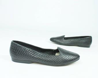 80s Black Leather Woven Shoes Slip Ons Ballet Flats Loafers Vintage 1980s 8.5 Sandler
