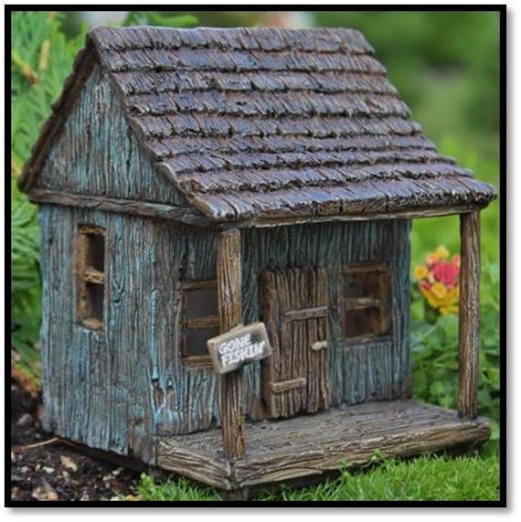 "Fairy Cajun ""Gone Fishin"" Camp with Hinged Door for the Fairy Garden"