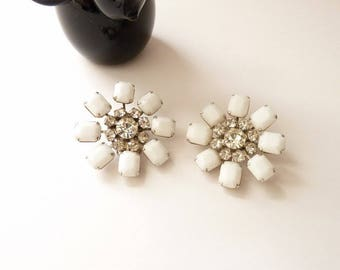 Vintage Weiss White Milk Stone Earrings with Clear Rhinestones in Silver Setting Round Button 1 1/2  Inch Earrings