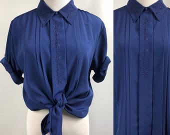 Vintage Royal Blue Buttondown Blouse with Damask Detail Womens Medium
