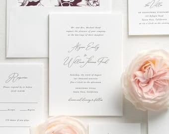Alyssa Letterpress Wedding Invitations - Deposit