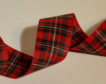 Christmas Plaid Ribbon 1-1/2 inch Woven Edge MacGregor Tartan Authentic Scottish Made in England for hair, craft, wedding, scrapbook, favors
