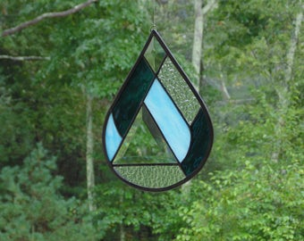Stained glass, rain drop, abstract, glass art, blue raindrop suncatcher, tiffany glass, light catcher, copper foil, April showers water drop