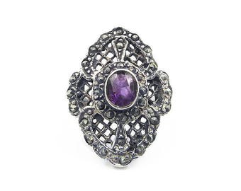 Sterling Amethyst Marcasite Filigree Ring - Art Deco Style, Sterling Silver, Amethyst Gemstone, Vintage Jewelry, Vintage Ring, Size 6.5