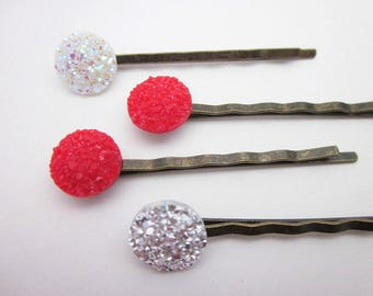 Red Hair Jewelry -- Button Hair Pin -- Red & White Hair Pins -- Glitter Hair Pins -- Red Hair Pin Set -- Red White Silver Hair Pins -- Druzy
