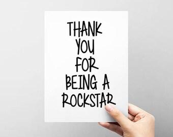Thank You Card. Rockstar Thanks Card. Funny Thank You Card. NB005
