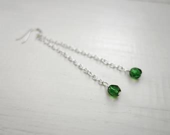 Green bead earrings long chain earrings long dangle earrings minimalist earrings for women