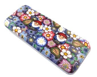 Polymer Clay Magnetic Needle Case, Pill case, Pill Box, Gift, Gnomes and Flowers Design