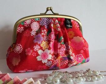 Red & pink metal frame coin purse - Miya