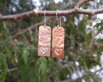 Copper dangled with silver hearts