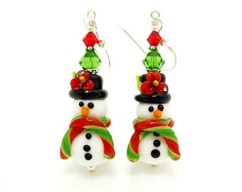 Snowman Earrings, Christmas Earrings, Lampwork Earrings, Glass Bead Earrings, Christmas Jewelry, Glass Bead Jewelry, Fun Earrings