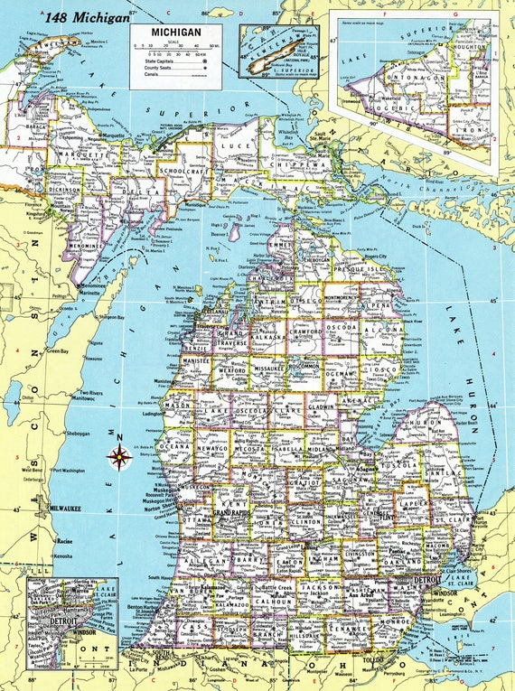1980 michigan map antique hammond atlas map vintage like this item gumiabroncs Images