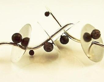 Earrings with Jasper beads silver 'Flamenco'