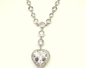 White Topaz, Heart Necklace, Sterling Silver Setting