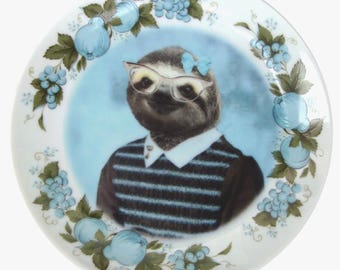 Sylvia Sloth School Portrait Plate 6.5""