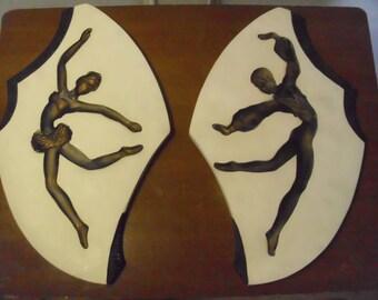 Vintage Mid Century Chalk Ware Plaques  Set Of 2