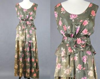 Vintage 1930s 40s Silk Roses Dress, Silk Floral 1940s Dress, Romantic Garden Dress