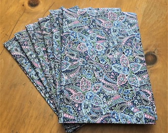 Blue & Pink Floral Paisley Reusable Cloth Napkins Set of 6 Double Sided 100% Cotton Eco Friendly Large 20 x 20