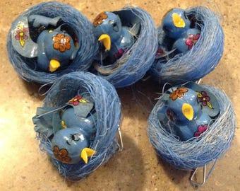 Vintage Christmas Blue Bird Nest Robin Tree Ornament 5 Piece Set