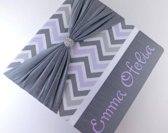 Girl Photo Album Baby Photo Album Purple Gray Chevron Personalized Photo album Scrapbook 4x6 5x7 8x10 Picture Custom Baby Shower Gift