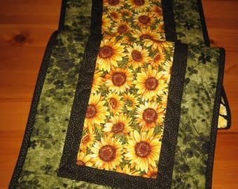 "Yellow Sunflowers Quilted Table Runner, Fall Table Runner, Reversible, 13 x 47"" Handmade"