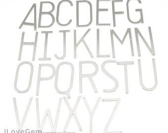 SALE 20% off//26 letters, A-Z Full Set(each 1pc) NP-1970 Rhodium, Upper case, Large Initial Pendant, Oversize Alphabet Necklace Pendant