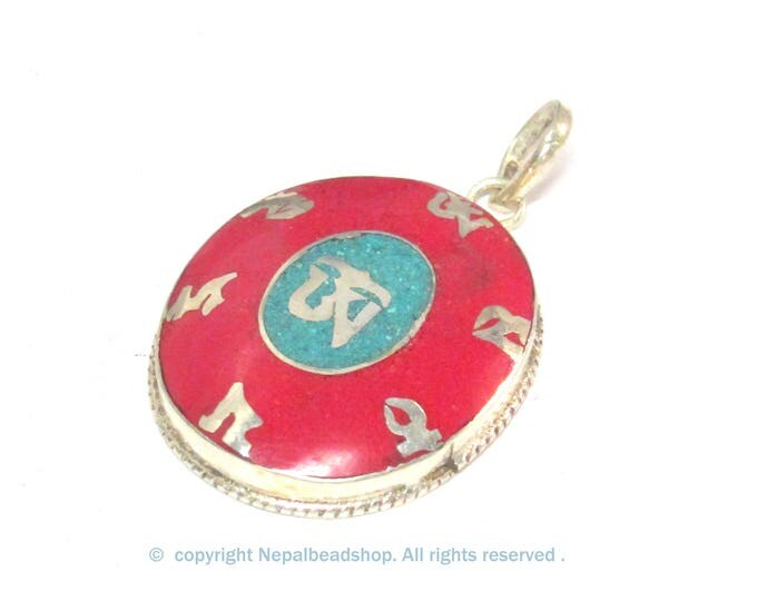 Special Sale Price - Tibetan om mantra prayer pendant with turquoise coral inlay - PM165D