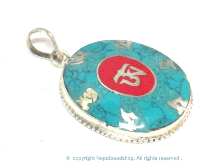 Special Sale Price - Tibetan om mantra prayer pendant with turquoise coral inlay - PM165F