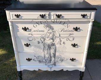 SOLD Antique black and white dresser