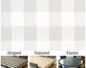 For Lily Laminated cotton aka oilcloth heavyweight tablecloth, fitted by ELASTIC, gray and white Buffalo Plaid