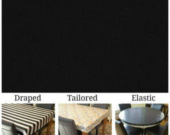 Laminated cotton aka oilcloth tablecloth custom size and fit choose elastic, tailored or draped, solid black