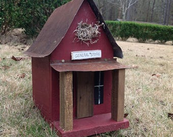 Handmade General Store Birdhouse - Barn Red