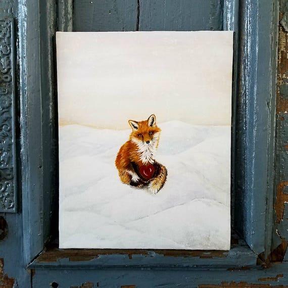 Fox in Love an original acrylic painting