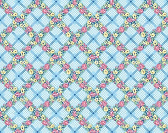 Mae Flowers Fabric by Lindsay Wilkes from The Cottage Mama for Riley Blake Designs and Penny Rose Fabrics - Blue Plaid