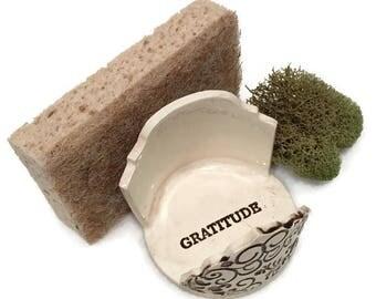 Sponge Holder - Gratitude - Mindful Minute - White and Brown