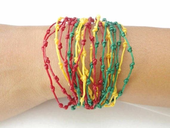 Handcrafted Red Green Yellow Knotted Bracelet Made in Thailand