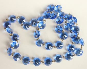 Deep Blue Crystal Chandelier Swag