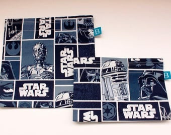 Reuseable Eco-Friendly Set of Snack and Sandwich Bags in Star Wars Fabric