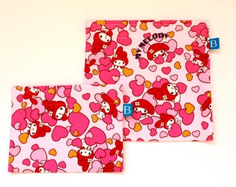 Reuseable Eco-Friendly Set of Snack and Sandwich Bags in Japanese Kawaii My Melody Fabric