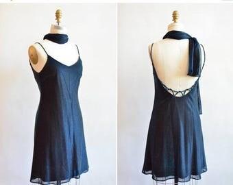 25% off Storewide // Vintage 1990s SPARKLY blue acetate mini dress