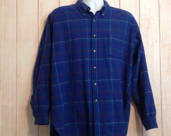Vintage Pendleton 100% Virgin Wool Blue Plaid Long Sleeve Button Front Shirt Mens XL