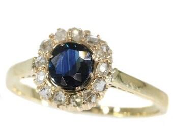 ON SALE Vintage Diamond and sapphire engagement ring 14k yellow gold rose cut diamonds 0.70ct dark blue sapphire ca.1935