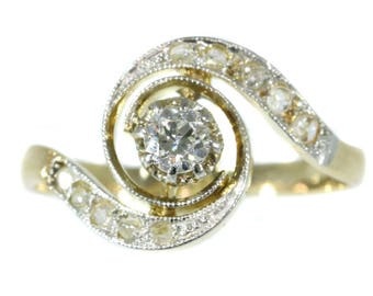 Antique center diamond engagement ring whirlwind 18k yellow gold old European cut diamond .18ct rose cut diamonds antique jewelry