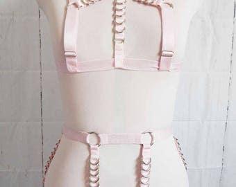 IN STOCK Pink Elastic D Ring Harness Set, Pink D Ring Harness Set, Pink Elastic Body Harness Set, Pink Burlesque Harness Set, Lingerie Set
