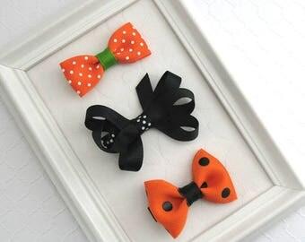 Halloween Hair Bow Hair Clips ~ Baby Hair Clips, Toddler Hair Bows, Cute Set of Halloween Bows