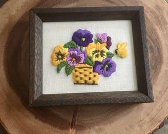 Vintage Pansies Crewel / Embroidered Wall Hanging
