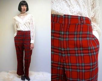 Plaid Pants  //  70s Plaid Pants  //  Womens Plaid Pants  //  Wool Pants  //  High Waisted Pants  //  70s Wool Pants  //  RED HOTS