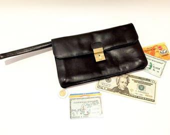 European Man Bag - Man Purse Leather - Mens Wallet Vintage Wallets Leather - Coin Pocket - Wristlet with Wrist Strap - Manbag - Evening Bag
