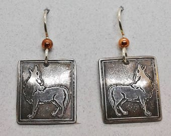 Etched Sterling Silver Wolf Earrings